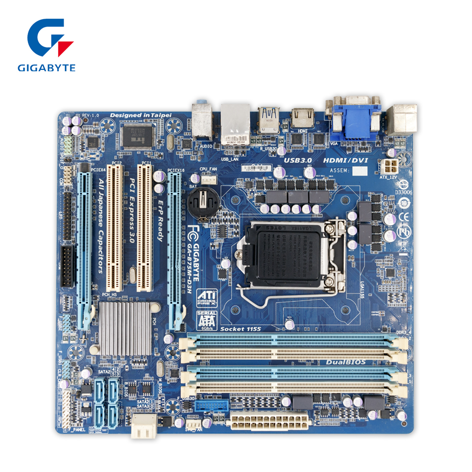 Gigabyte GA-B75M-D3H Original Used Desktop Motherboard B75M-D3H B75 Socket LGA 1155 i3 i5 i7 DDR3 ATX On Sale купить