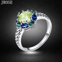 JROSE Wholesale Hot Sale Green Amethyst Sapphire Emerald Jewelry 18K White Gold Plated Ring Size 6 7 8 9 10 Free Shipping Gift