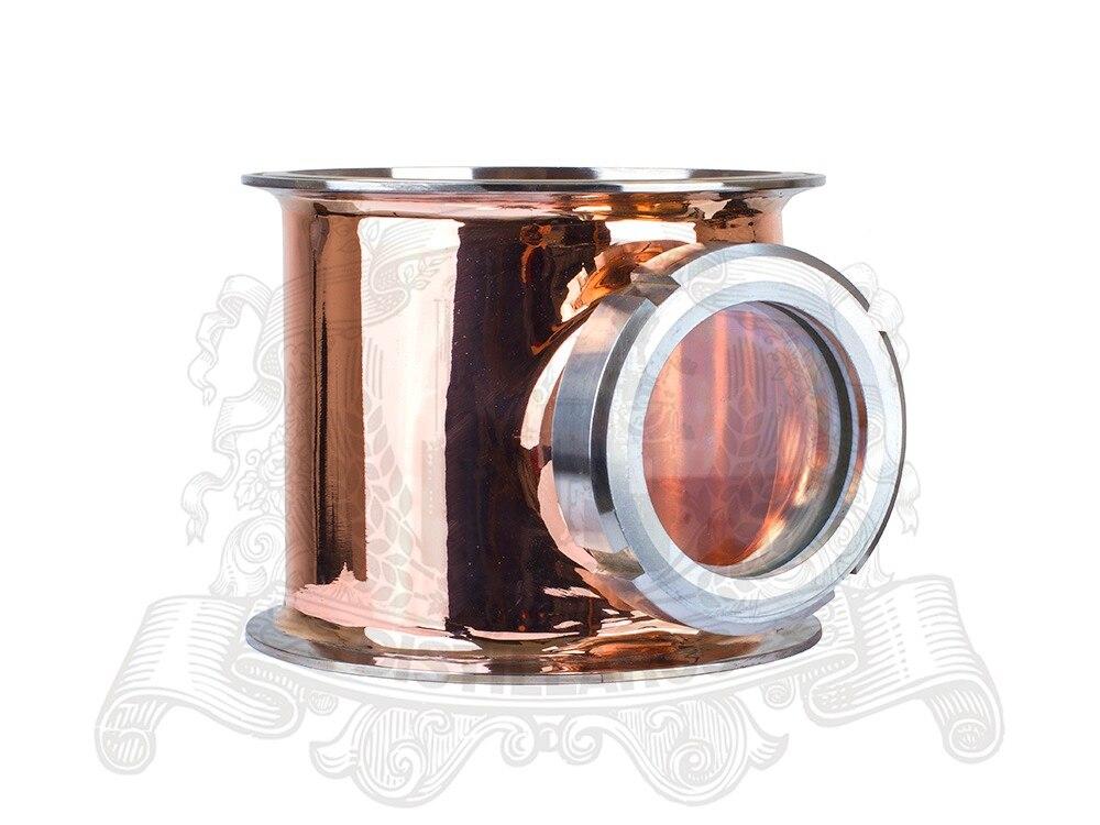6 5 OD 183 Copper Sight Glass Union Tri Clamp Tee 6 5 x6 5 x3