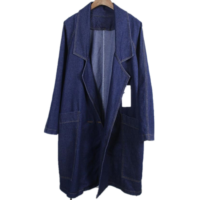 new loose bat sleeves   trench   Cowboy Women Long-Sleeved Cardigan Long Coat Female