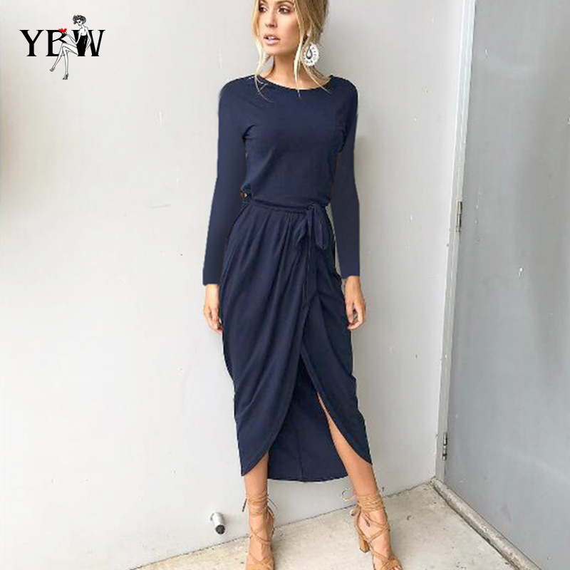 Verano otoño vestido largo mujeres corto manga larga Bodycon partido Vestido largo de Boho de las mujeres atractivas vestido elegante vestido