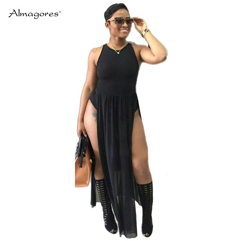 Almagores Sexy Black women jumpsuit rompers combine Sleeveless high waist long jumpsuit playsuit Split casaul jumpsuit leotard
