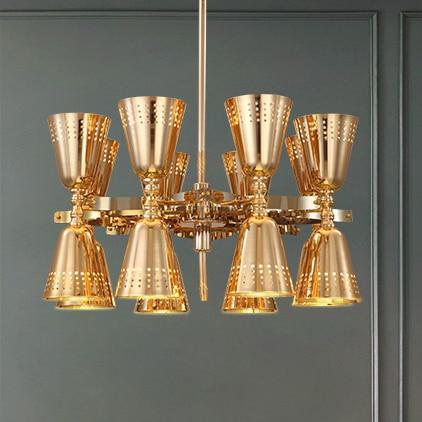 European Modern Gold Pendant Lights Fixture Golden Cup Droplights Home Indoor Foyer Dining Room Club Cafes Hall Lighting D80cm