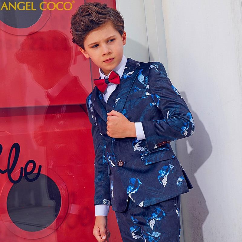 Blue Blazers For Boys Suits Blazers British Children's Dress Boys Suits For Weddings Performance Suit Jacket Costume Garcon 2018