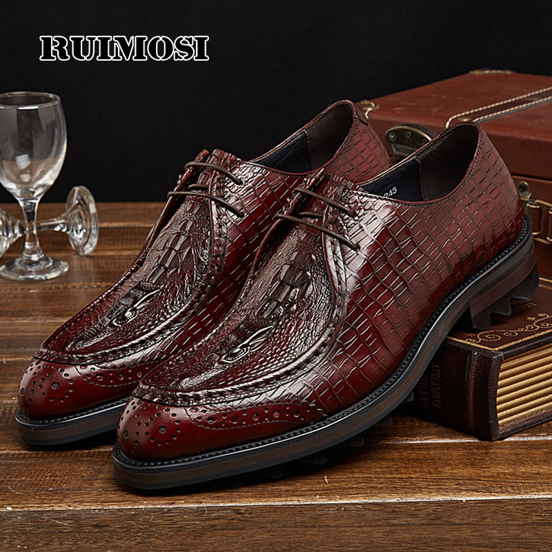 RUIMOSI Formal Man Platform Dress Shoes Genuine Leather Designer Oxfords Luxury Brand Men's Crocodile Footwear For Male EH74