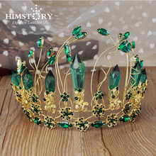HIMSTORY Elegance Clear Crystal Gorgeous Wedding Hair Crown Gold Color Green Stones Party Bridal Girls Pageant Hair Accessories g mascia string quintet op 100