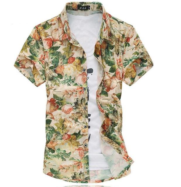 5d10b88c soft shirt floral golden print casual men shirt short sleeve m- 7xl 6xl 5xl  4xl