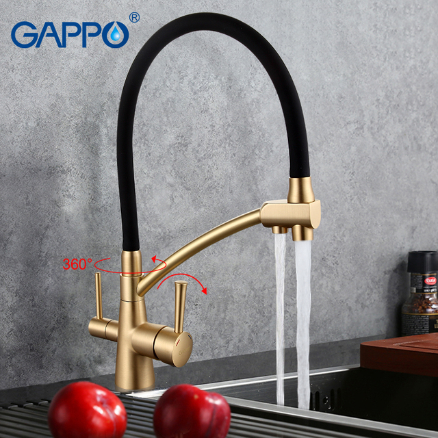 Gappo 1set Black Mixer Kitchen Sink Faucets With Filtered Water