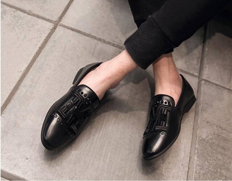 Bordados Deslizar Semi Salto Casuais Sapatos Lantejoulas Formal Baixo Zapatos Hombre Homens Rebites Preto Sobre Couro Preguiçosos Moda De 0fq8fz