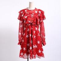 Brand high end women's fashion luxury red star print sunscreen dress female