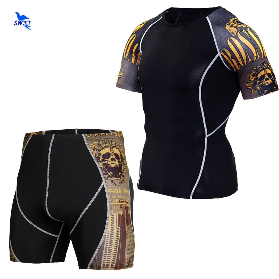 2Pcs/Set Mens Compression Running Jogging Suits Clothes Sports Set Short Sleeve Shirts And Shorts Gym Fitness Tights Sportswear