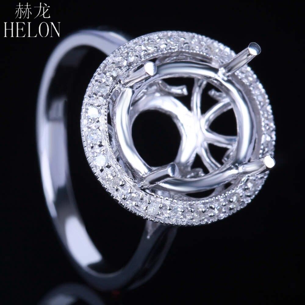 HELON 12x10mm taille ovale en argent Sterling 925 mode bijoux pour femmes fiançailles vrais diamants naturels Semi monture trouver bague