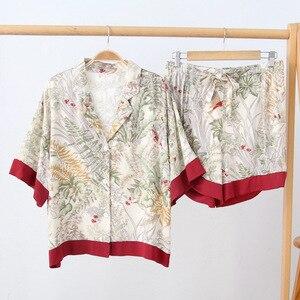 Image 2 - Sommer Druck Kurzarm Shorts Pyjamas Halb drehen unten Kragen Satin Loungewear Frauen Pijama Sexy Dessous Pyjama Startseite Set