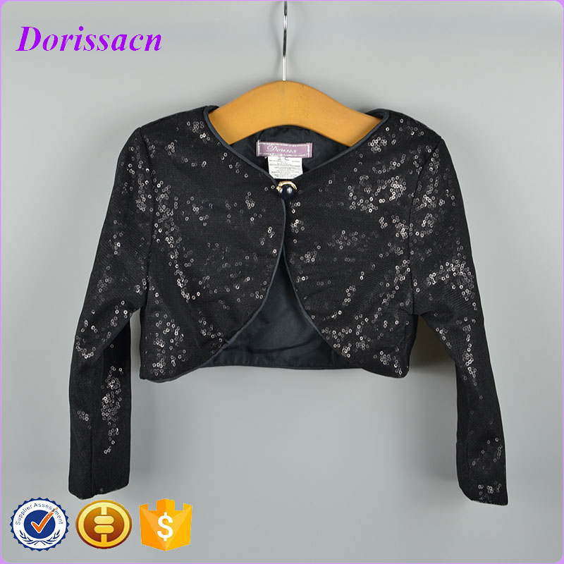 Fashion Sequins Black Children Clothes Kids Baby Wear Jacket Top ...