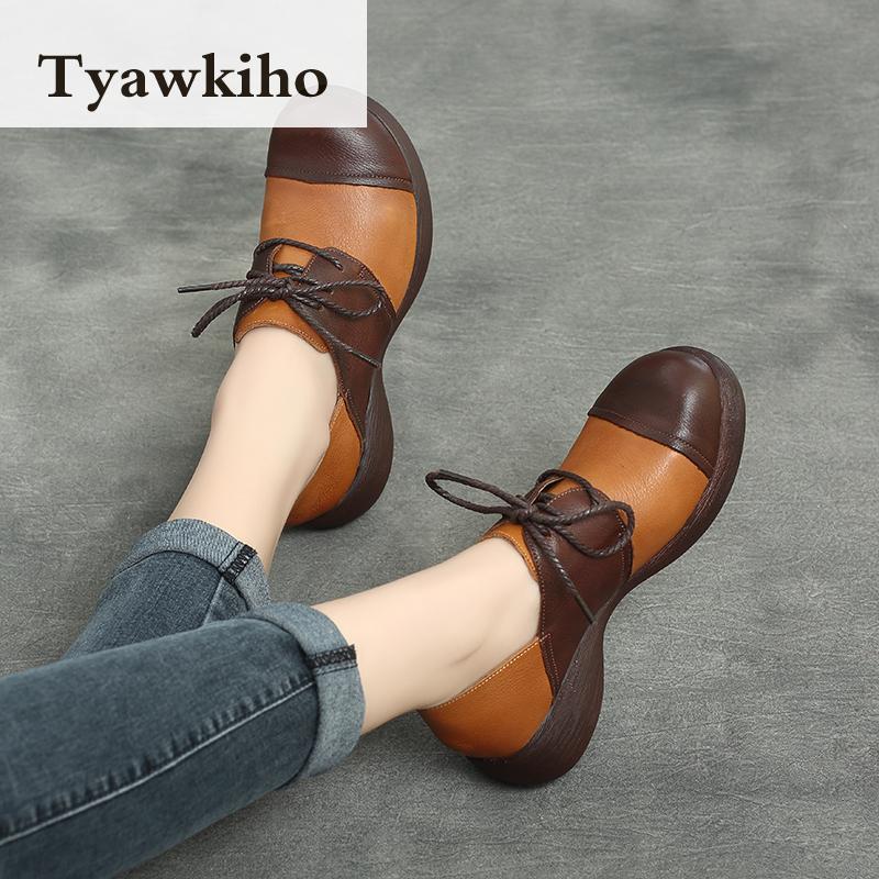 Ayakk.'ten Kadın Pompaları'de Tyawkiho Hakiki Deri Kadın Pompaları Lace Up Casual Kadın Ayakkabı 5 CM Yüksek Topuklu 2018 Bahar Ayakkabı El Yapımı Yumuşak Deri pompaları'da  Grup 2