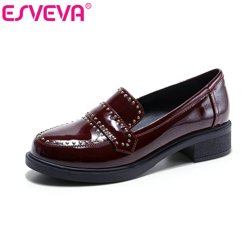 ESVEVA 2017 Black Genuine Leather Spring Shoes Square Med Heel Women Pumps Rivets Slip on Round Toe Casual Shoes Big Size 34-43 british college style genuine leather sexy pointed toe pumps fashion tassel slip on red black beige square med with women shoes