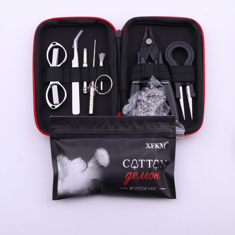 Xfkm x9 mini vape ferramenta diy saco pinças alicate fio aquecedores kit bobina gabarito enrolamento para embalagem eletrônico cigarro acessórios