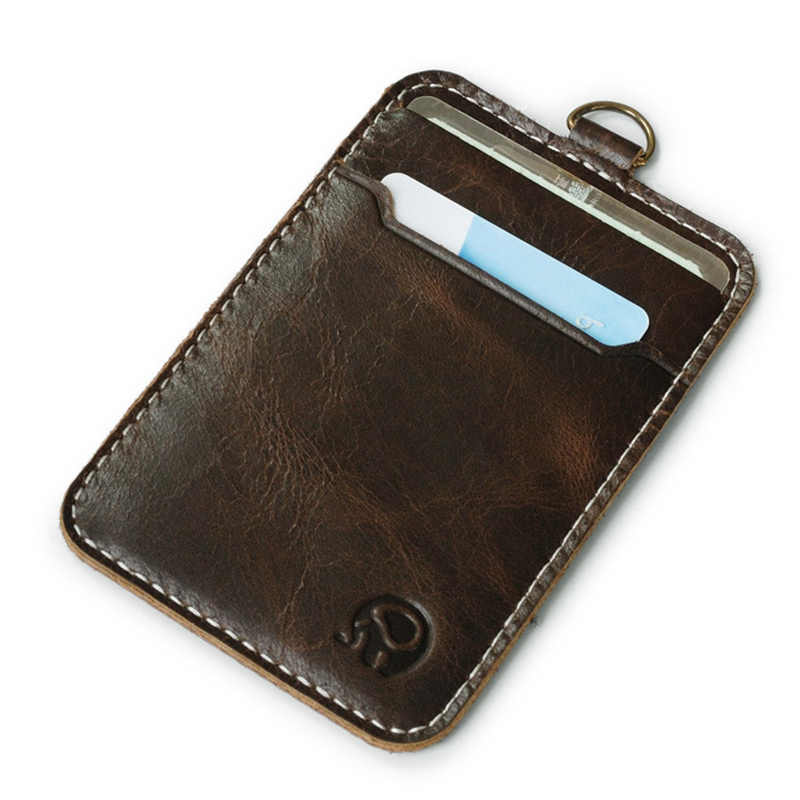 Simple Practical Credit Card Holder Bank Card Case Genuine Cow Leather Thin Mini Bus Cards Pack Men Women Fashion Card Wallets