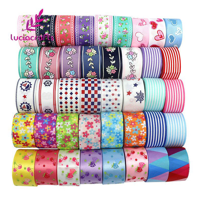 6yards/lot Mix Printed Trim Geometric Ribbons DIY Wrapping/Wedding/Party/Hair Bow Decoration Art Sewing Accessories T0101