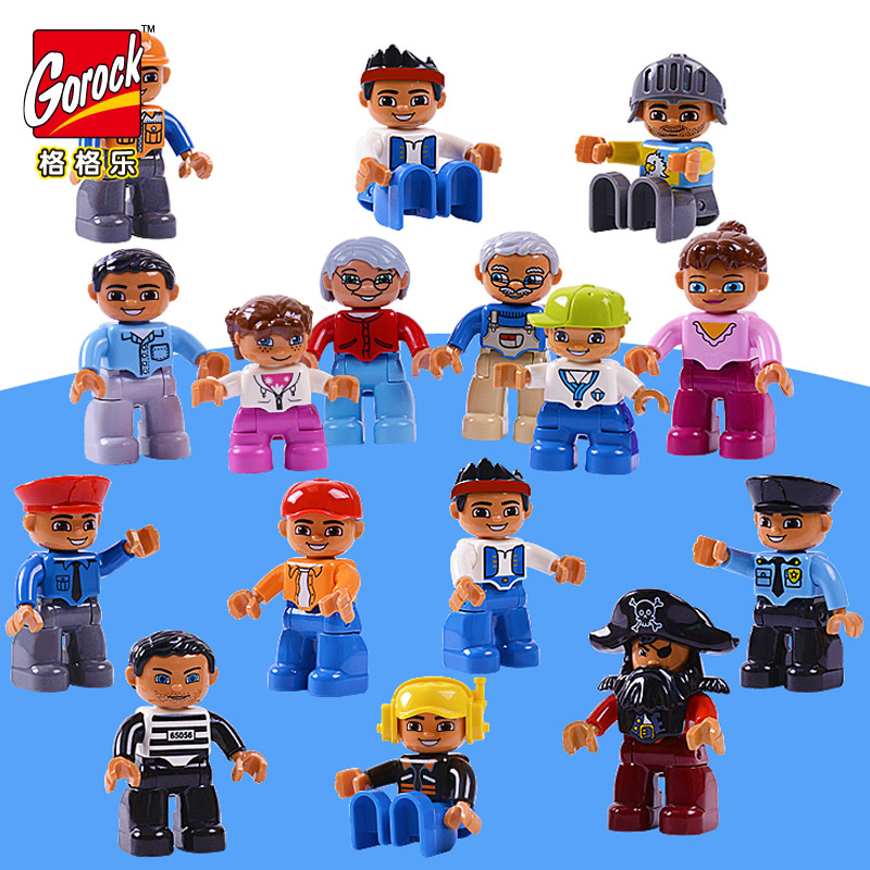 GOROCK 6pcs/Set duplo set Family Worker Police Figure Building Blocks Character Bricks Compatible Series Toys For Children Gifts