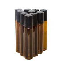 5/10ml Portable Amber Glass Roller Rollerball Essential Oil Bottles Mist Container Travel Refillable Bottle Transparent Brown