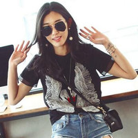 2015 Women Summer Casual O Neck Short Sleeve High Quality Cotton Embroidery Swan T Shirt Black