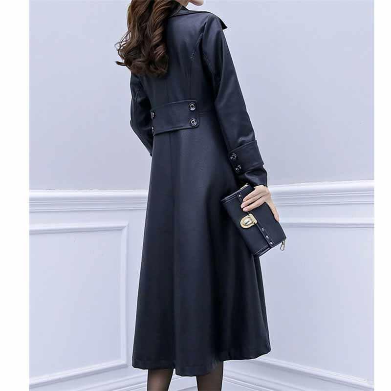 ファッションフェイクレザーコート女性プラスサイズ XL-6XL ロングジャケット pu レザーウインドブレーカー女性のスリム黒革上着 G156