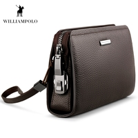 WILLIAMPOLO 2019 Genuine Leather Mens Clutch Wallet With Coded Lock Men Wallet Business Man Clutch Purse Mens Handbag PL286