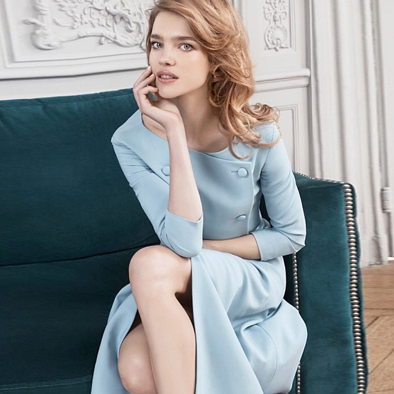 Milan Designer de piste de haute qualité 2018 automne nouveau femmes mode fête lieu de travail Sexy Vintage élégant Chic filles dames robe