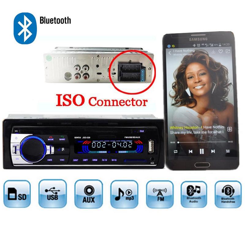 Prix pour Autoradio De Voiture Radio 12 V Bluetooth V2.0 JSD520 Voiture Stéréo Au tableau de bord 1 Din FM Entrée Aux Récepteur SD USB MP3 MMC WMA ISO connecteur