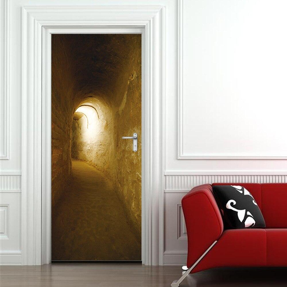 Image 4 - Mystery Tunnels Door Sticker Creative Home Decoration Waterproof PVC Vinyl Wood Grain Self Adhesive Kitchen Wardrobe Wallpaper-in Door Stickers from Home & Garden