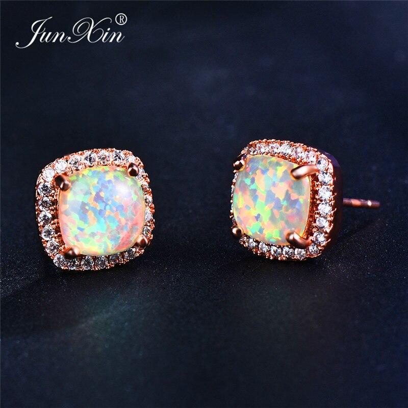 Boho Women Ladies White Fire Opal Earrings 18KT Rose Gold Filled Jewelry Vintage Double Zircon Wedding Stud Earrings