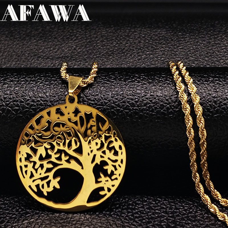 Stainless Steel Tree of Life Big Necklaces Gold Color Tree Bohemian Long Necklace Jewellery For Women or Men gargantilla N3309