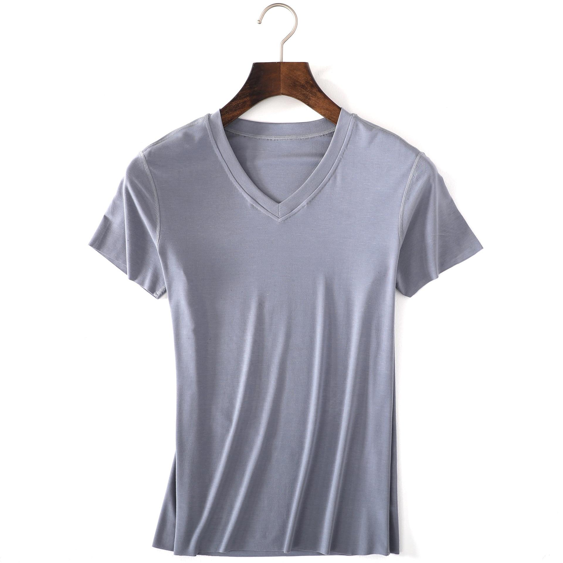 Summer Modal Close-fitting Mens Tank Tops Sleepshirt Traceless Sleep Tops Sexy V-neck Mens Bottoming Shirt Homewear Nightshirt