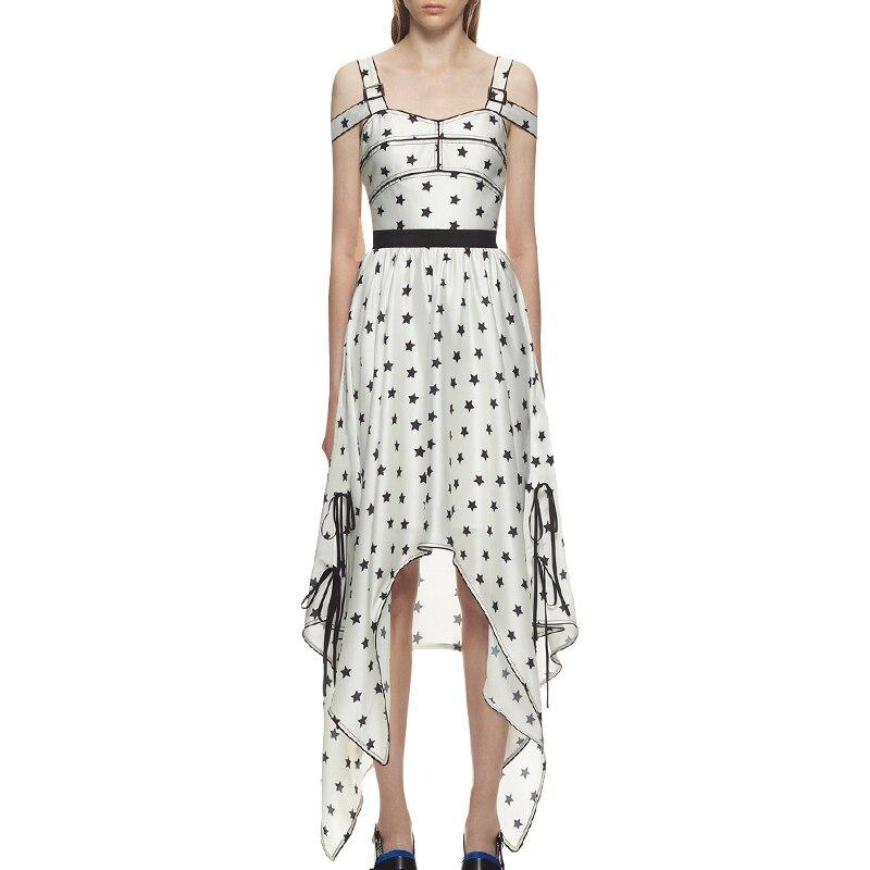 Star 2018 Print Blanc Irrégulière Réservoir Robe Qualité Partie De Longue Summer Robes Haute Femmes hsrQdt