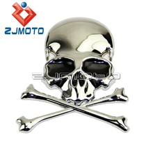 3D Chrome Metal Skull Car Trunk Motorcycle Fuel Tank Emblem Badge Decal Sticker For Harley Chopper Bobber Custom