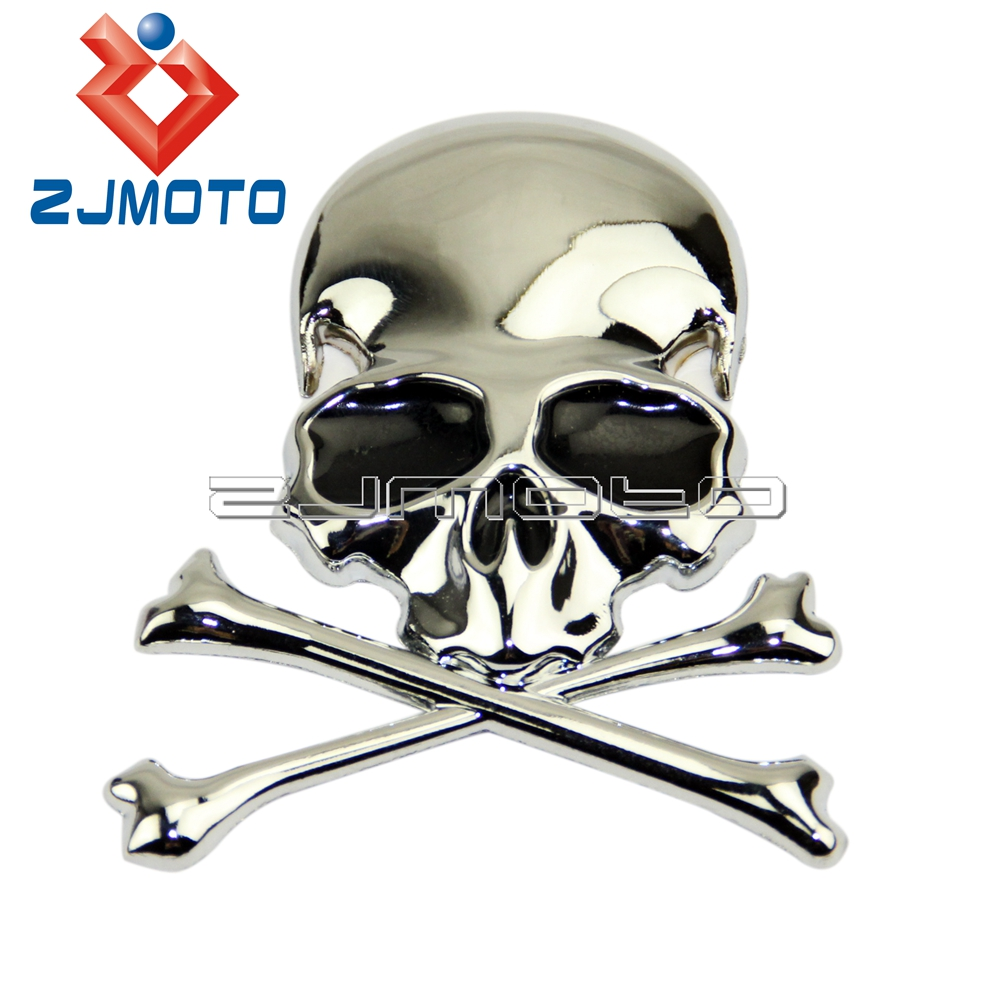 3D Chrome Metal Skull Car Trunk Motorcycle Fuel Tank Emblem Badge Decal Sticker For Harley Chopper Bobber Custom