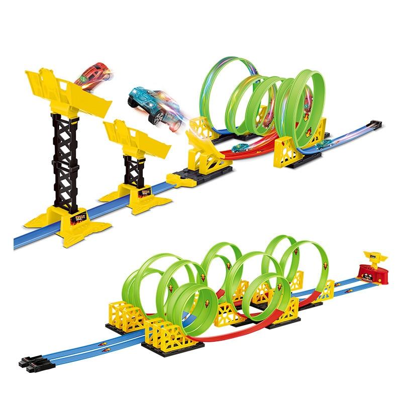 Hot Wheels Piste Électrique Voiture de ville Carré Ascenseur Automatique Autoroute Modèle Voitures Hotwheels Voiture Voiture jouets pour enfant cadeau d'anniversaire CDR08