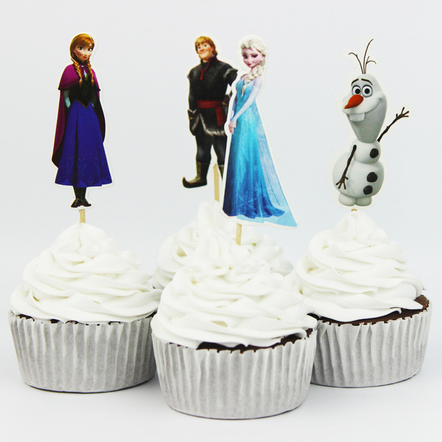 24pc Anna And Elsa Pricesses Cupcake Toppers Ice Cream Cake Topper With Bamboo Kid Boy Birthday