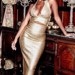 Image 2 - Seamyla 2020 ใหม่ Bodycon ผ้าพันแผลชุดผู้หญิงพิมพ์ Halter 2 ชิ้นชุดเซ็กซี่คลับ Celebrity Dresses Vestidos