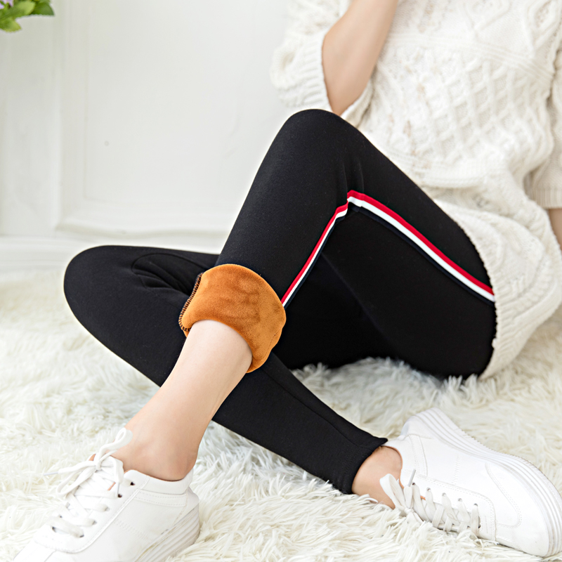 WKOUD Winter Leggings For Women High Waist Stretch Warm Legging Side Striped Patchwork Thicken Pencil Pants Hot Joggers P663