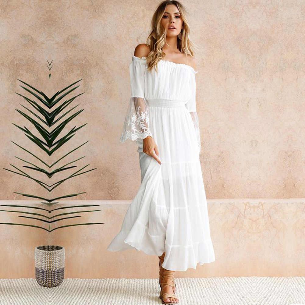66ff4554354 Длинное платье для женщин пикантные с открытыми плечами кружево макси платья  Лоскутная Flare рукавом Элегантный Вечеринка