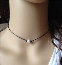 Single pearl choker natural freshwater pearl necklace black leather necklaces for women floating pearl jewelry knotted cord