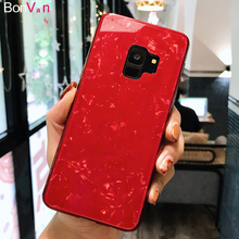 BONVAN Tempered Glass Case For Samsung Galaxy s9 s8 plus Dream Shell Glitter Cover Silicone Bumper