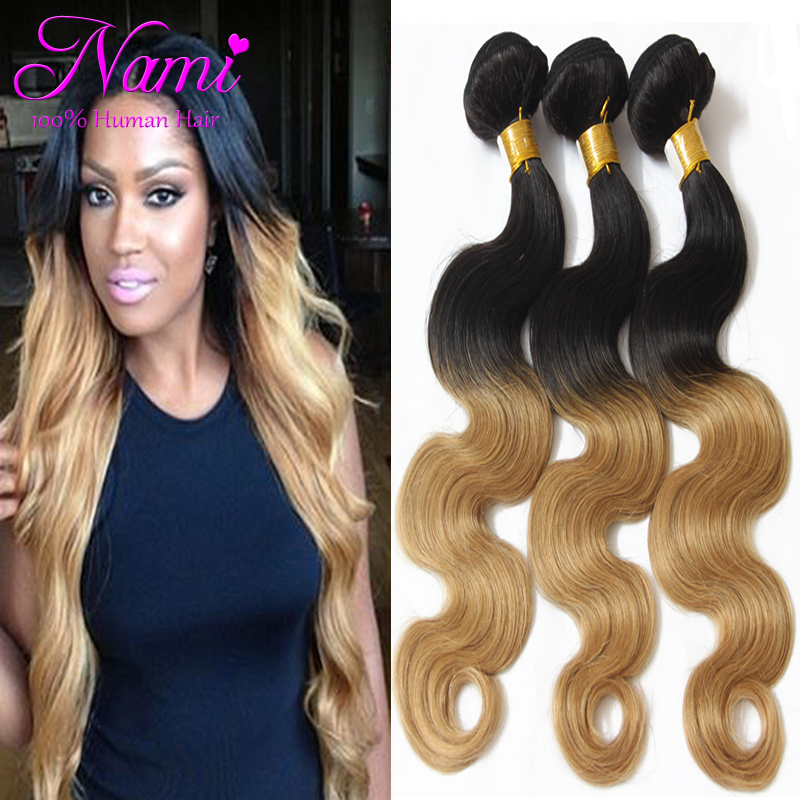 Ombre Brazilian Hair Extensions Body Wave Two Tone Color 100 Human