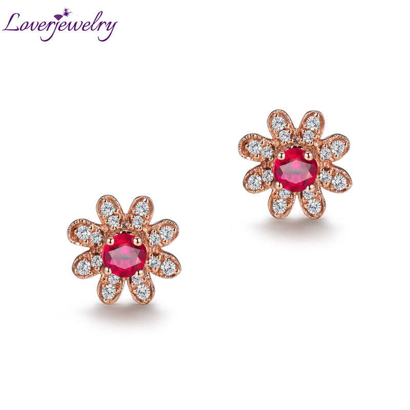e825ed5a939 Loverjewelry Trendy Flower Style Solid 18K Rose Gold Genuine Red Ruby  Diamond Wedding Earring for Women