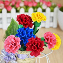 Free shipping 10pcs/lot Creative handmade flower pen soft polymer clay  rose carnation tulip children gift wholesale