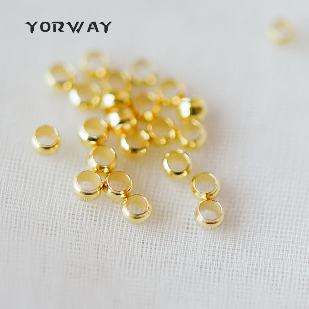 500pcs/pack Gold/ Rhodium Plated Brass Crimp Beads 2mm, Lead Nickel Free (GB-234)