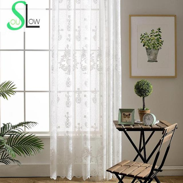 Slow Soul Bottle White Curtain Jacquard Floral Curtains For Living Room Tulle Kitchen Sheers Sheer Jardin