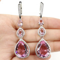 Long Drop Pink kunzite, White CZ SheCrown Woman's Wedding Created  Silver Earrings 72x18mm